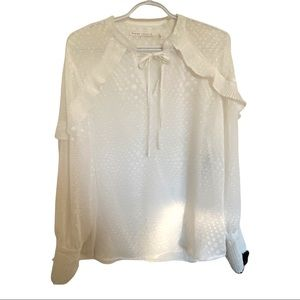 Violet & Claire white long sleeve ruffle detail tie neck blouse top size L NWT